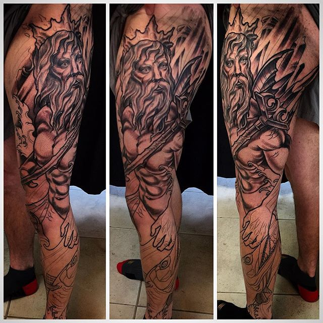 Poseidonneptune Leg Sleeve By Terry Ribera Remington Tattoo Parlor