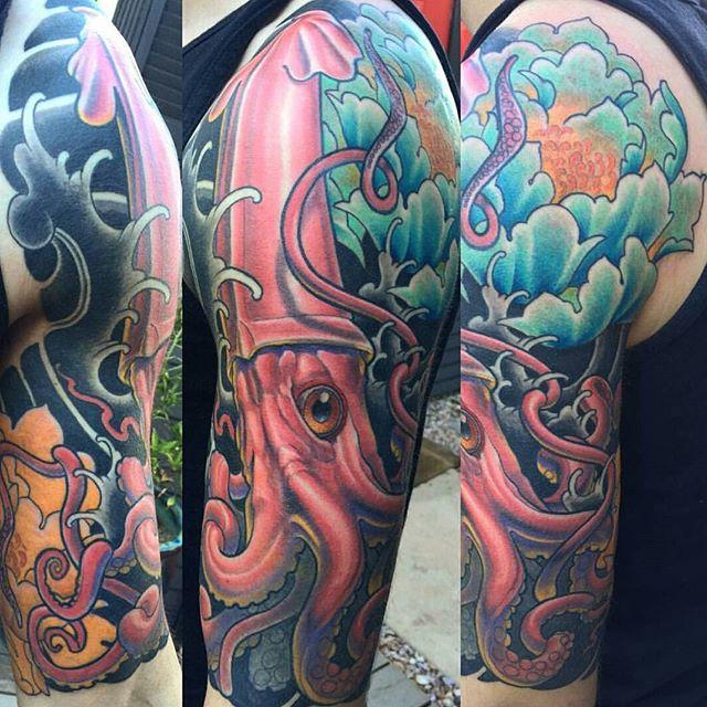 Giant squid leg tattoo