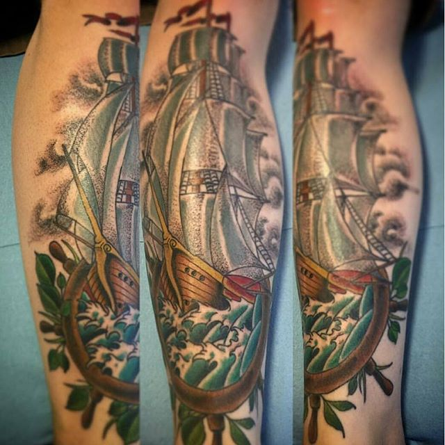 Tattoo by @gust_razotattoos #art #tattoo #tattoos #tattooart #remington #remingtontattoo #gustrazo #gustrazotattoos #sailboat #boattattoo #northpark #30thst #sandiegotattoo #sandiegotattooshop #sandiegotattooartist #sandiegoartist #sandiego