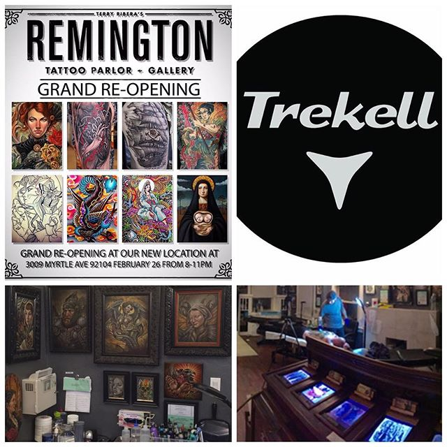 """Please join us February 26th, 2016 from 8pm-11pm to celebrate the new home of Remington Tattoo and Gallery with an Art Show of original works from the Remington crew. Located at 3009 Myrtle Ave 92104, our new location boasts larger square footage, customized work stations, and some new artist additions to the Remington Family.Along with our Art Show, we are also hosting a canned-food drive for Mama's Kitchen with a raffle featuring prizes from local businesses and artists. Help us support this great cause by bringing canned-food goods to donate, each can equals one raffle ticket, so bring as many as you'd like! """"We feel that the new space reflects our talent and hard-work in a comfortable, personalized environment."""" says owner Terry Ribera """"We are excited about our new transition, and look forward to hosting future events that support the arts in our community."""" We appreciate having this opportunity to thank all of our clients for their continued support throughout the years, and we look forward to celebrating our new space with you! Adult beverages and snacks will be served. We are also excited to announce that Trekell Fine Art Supplies will have a booth at our Grand Re-Opening Art Show and Party on February 26th from 8-11pm at Remington Tattoo. Trekell will be selling a wide range of their amazing art products, so be sure to stop by on the 26th and check them out!Remington TattooGrand Re-Opening Party and Art ShowFebruary 26th, 8-11pm3009 Myrtle AveSan Diego, CA 92104@remingtontattoo @trekell_art_supplies"""
