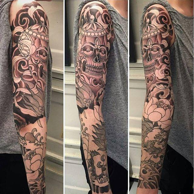 Tattoo in progress by @alessioricci #tattoo #tattoos #tattooart #wip #remington #remingtontattoo #kapala #tibetantattoo #30thst #northpark #sandiegotattooshop #sandiegotattooartist #sandiegotattoo #sandiego #sandiegoartist