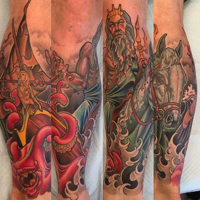 Tattoo by @nathanieltattoosd #tattoo #tattoos #tattooart #remington #remingtontattoo #nathanielgann #nathanielganntattoo #poseidon #poseidontattoo #northpark #30thst #sandiegotattoo #sandiegotattooshop #sandiegotattooartist #sandiegoartist #sandiego
