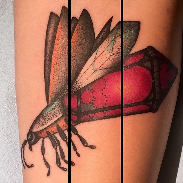 Lantern bug by Jasmine Worth @jasmineworth Message her at JasmineWorthTattoos@gmail.com to set up your appointment #fireflytattoo #firefly #lanternbug #insecttattoo #bugtattoo