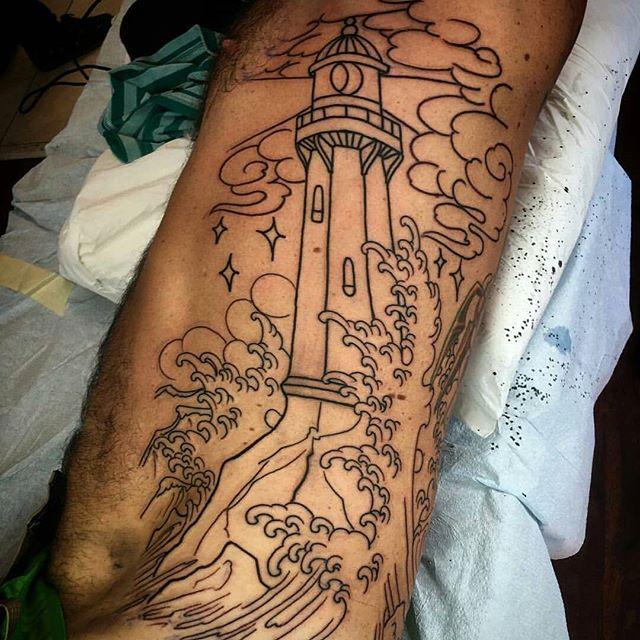 Lighthouse tattoo in progress by @chriscockadoodledo #tattoo #tattoos #tattooart #wip #remington #remingtontattoo #lighthouse #lighthousetattoo #chriscockrill #chriscockrilltattoo #northpark #30thst #sandiegotattoo #sandiegotattooshop #sandiegotattooartist #sandiegoartist