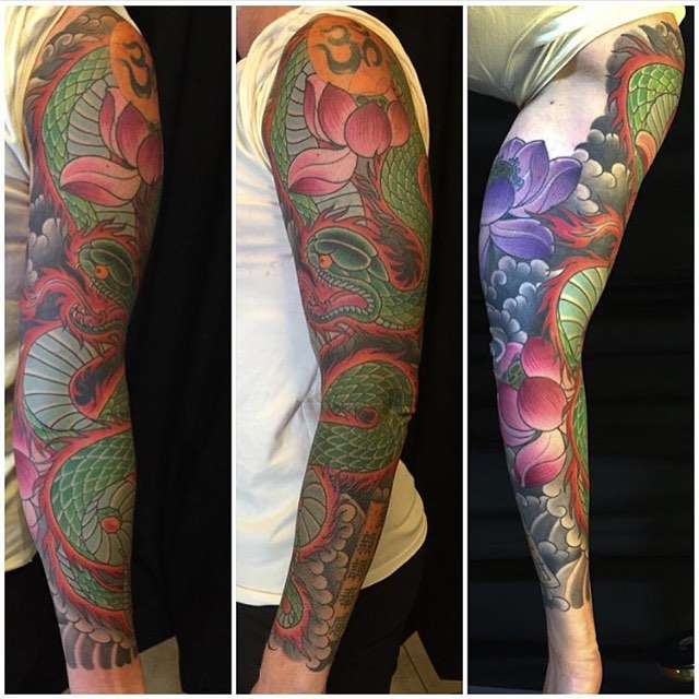 Japanese sleeve by @alessioricci #remingtontattoo #alessioriccitattoo #sandiegotattoos #northpark