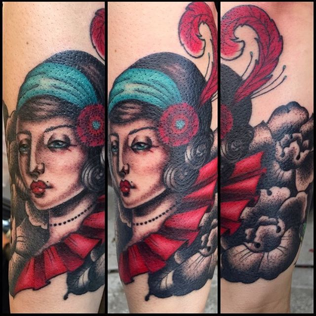 Flapper tattoo by Jasmine Worth @jasmineworth Lines healed, color fresh. To get tattooed by Jasmine, pls email her at JasmineWorthTattoos@gmail.com #flappergirl #flapper #flappertattoo