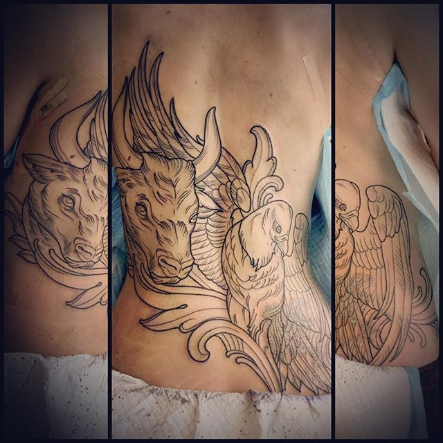 Fun outline from the other day by @terryribera #coverup #sandiegotattooartist #bull #eagle #terryribera