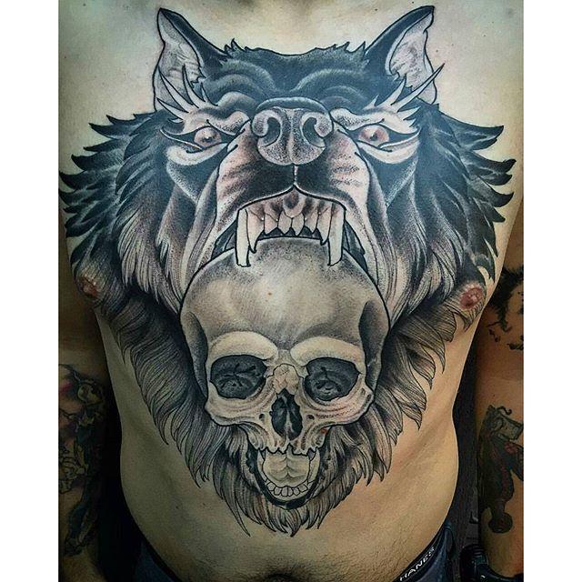 wolf skull chest remington