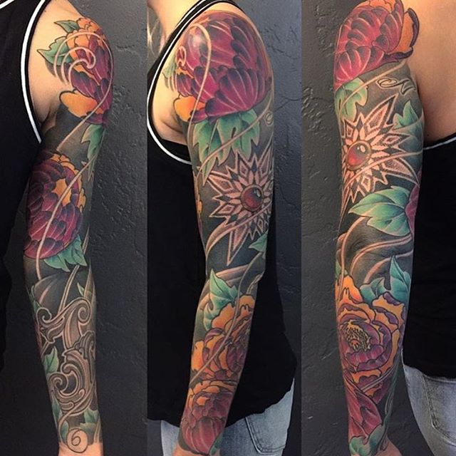 Finished sleeve done by @nathanieltattoosd #tattoo #tattoos #tattooart #remington #remingtontattoo #myrtleave #northpark #sandiego #sandiegotattoo #sandiegoartist #sandiegotattooartist #sandiegotattooshop