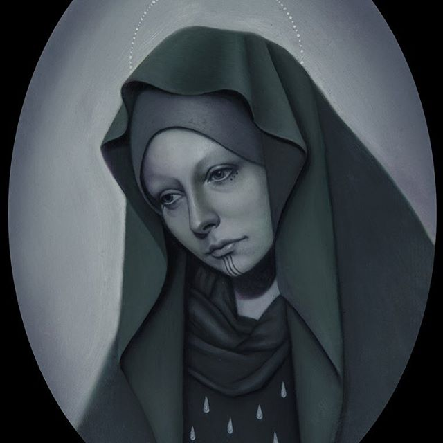 """Our Lady of Eternal Sorrows"" oil on board by Jasmine Worth for her upcoming ""Blood & Tears"" show, opening at La Luz de Jesus Gallery August 5th. Come see her art at the show or come to Remington Tattoo and get a piece of her art put on your body forever! Contact JasmineWorthTattoos@gmail.com for info and availability. Thank you! #darkart #darkartists"