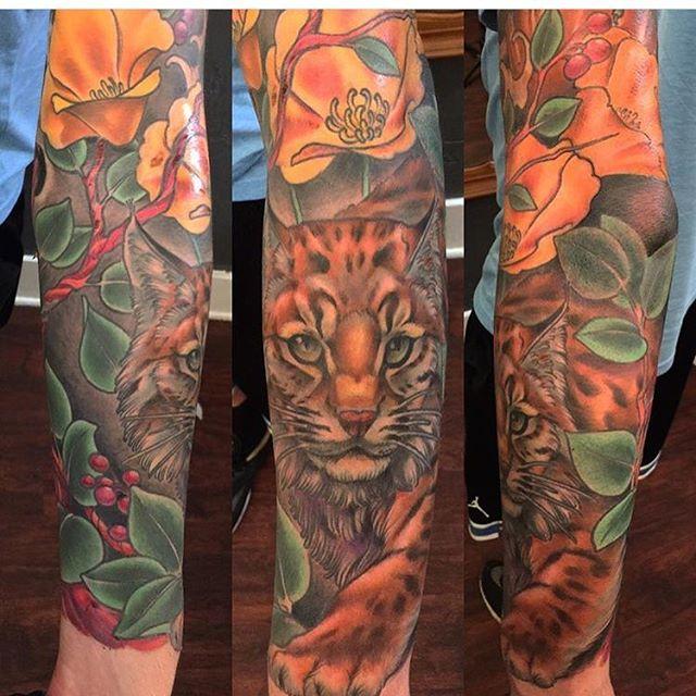 219b476f1fb17 Bobcat piece done by @nathanieltattoosd #tattoo #tattoos #remingtontattoo  #northpark #sandiego