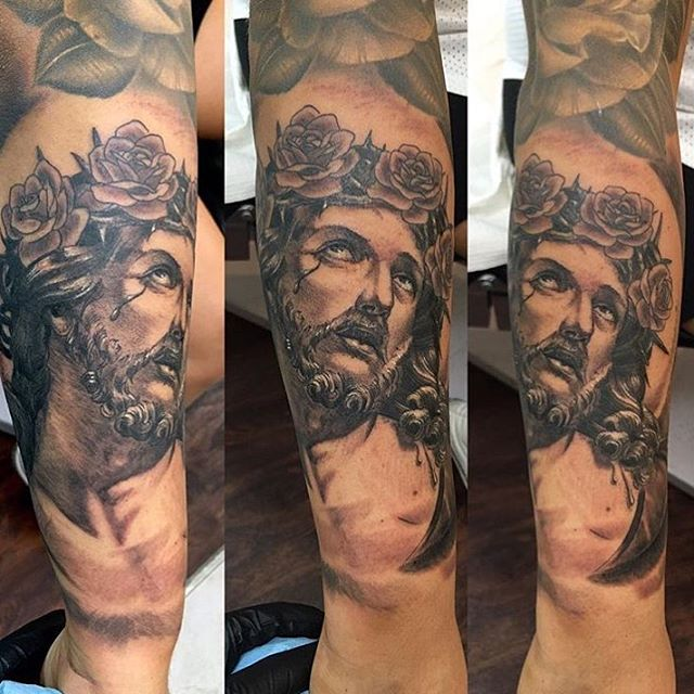 Jesus done By @chriscockadoodledo #chriscockrill #remingtontattoo #northpark #sandiego #sandiegotattooartist