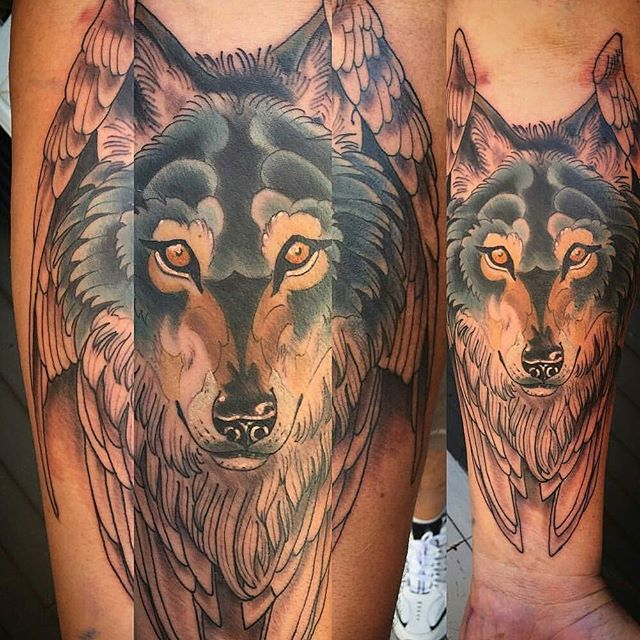 Angel wolf one shot tattoo by @gust_razotattoos #art #tattoo #tattoos #tattooart #remington #remingtontattoo #gustrazo #gustrazotattoos #northpark #30thst #myrtleave #wolftattoo #wings #sandiegotattoo #sandiegotattooshop #sandiegotattooartist #sandiegoartist #sandiego