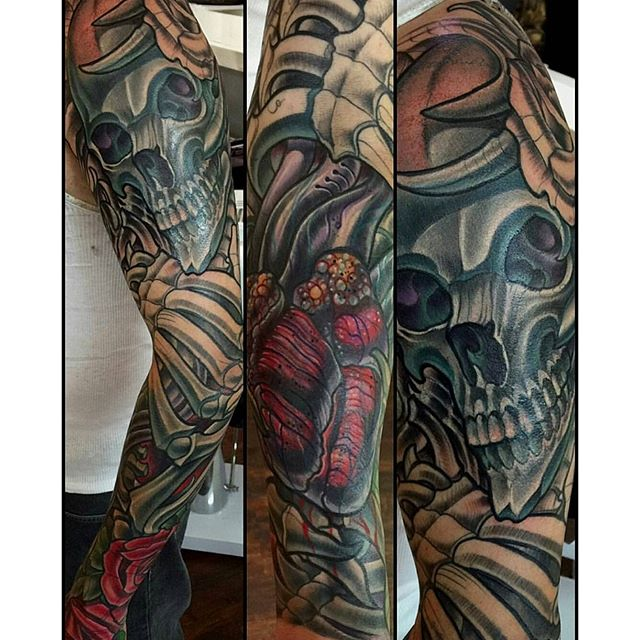 Sleeve in progress by @terryribera #tattoo #tattoos #tattooart #remington #remingtontattoo #wip #sleevetattoo #terryribera #terryriberatattoo #northpark #30thst #myrtleave #skulltattoo #sandiegotattoo #sandiegotattooshop #sandiegotattooartist #sandiegoartist #sandiego