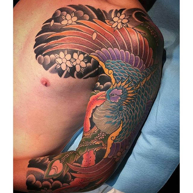 In Progress Japanese Phoenix Sleeve By Alessioricci Tattoo Tattoos Tattooart Remington
