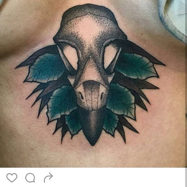 #remingtontattoo #birdskulltattoo #underboobtattoo @jasmineworthtattoos