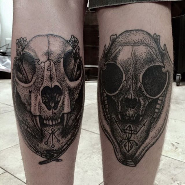 Dotwork skull and sigils by @jasmineworthtattoos Right one healed, left one fresh. #dotworktattoo #dotwork #darkart #darkartists #skulltattoo #sandiegotattoo #sandiegotattooartist