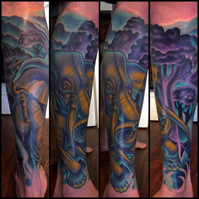 Fun #elephanttattoo by @terryribera #terryribera #remingtontattoo #sandiegotattooartist #illustrativetattoo made with @stigmarotary machines