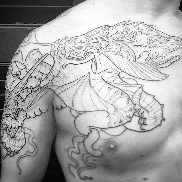 Work on progress by @gust_razotattoos #tattoo #tattoos #tattooart #remington #remingtontattoo #gustrazotattoos #gustrazo #northpark #30thst #myrtleave #octopus #octopustattoo #shiptattoo #sandiegotattoo #sandiegotattooshop #sandiegotattooartist #sandiegoartist #sandiego