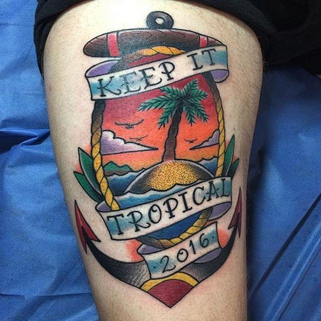 By @bobbyflorestattoo #anchortattoo #islandtattoo #tropicaltattoo #sandiegotattoo #remingtontattoo