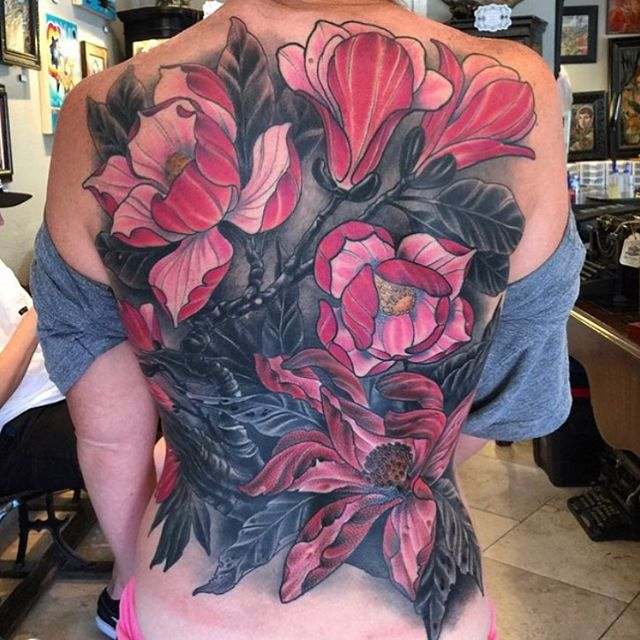 Backpiece from a bit ago by @nathanieltattoosd #backpiece #flowertattoo #backtattoo #magnoliatattoo #naturetattoo #tattooworkers #sandiegotattoo #sandiego #sandiegotattooshop #sandiegotattooartist #remingtontattoo