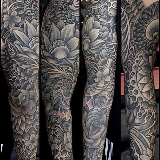 Black and grey floral cover-up by @terryribera #floraltattoo #flowertattoo #naturetattoo #sandiegotattooartist #sandiegotattooshop #sandiegotattoo #sleevetattoo #dotworktattoo #dotwork #tattooist #tattooworkers #mandala #mandalatattoo