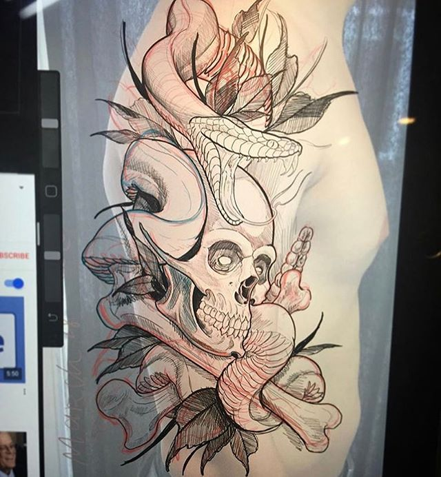 Drawing by @gust_razotattoos for upcoming project #skulltattoo #snaketattoo #armtattoo #sleeve #sleevetattoo #sandiegotattoo #sandiegotattooshop #sandiegotattooartist #sandiego