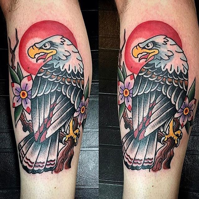 Eagle tattoo by @chriscockadoodledo #eagletattoo #oneshot #birdtattoo #naturetattoo #baldeagletattoo #baldeagle #sandiegotattoo #sandiegotattooshop #sandiegotattooartist
