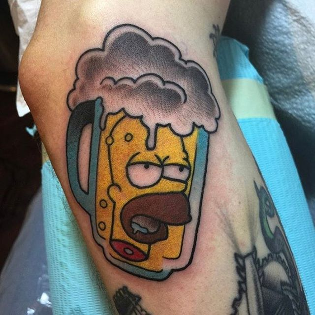 Awesome Simpsons tattoo by @horichata based on a flash piece by @alexstrangler #Simpsons #SimpsonsTattoo #SimpsonsTattoos #homersimpson #beertattoo #duffbeer #northparktattooartist #northparktattoo #sdtattoo #sandiegotattoo #sandiegotattooshop