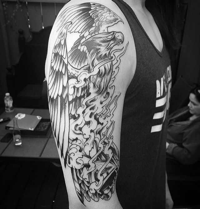 Progress shot of a Phoenix tattoo by @gust_razotattoos #pheonix #pheonixtattoo #wip #hourglasstattoo #sandiegotattoo #sandiegotattooshop #sandiegotattooartist