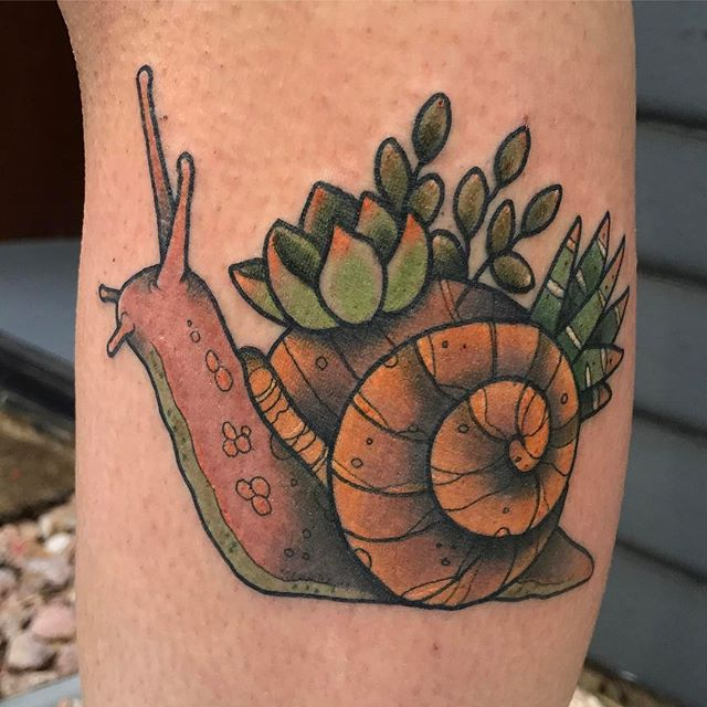 Snail with succulents by @jasmineworthtattoos #snailtattoo #snail #succulent #succulenttattoo #succulentstattoo #sandiegotattoo #sandiegotattooshop #sandiegotattooartist