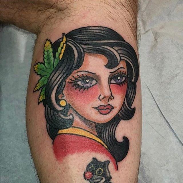 Tattoo by @chriscockadoodledo #pinup #pinuptattoo #weedgirl #northparktattooartist #northparktattoo #sdtattooartist #sdtattoo #remingtontattoo #sandiegotattoo #sandiegotattooshop #sandiegotattooartist