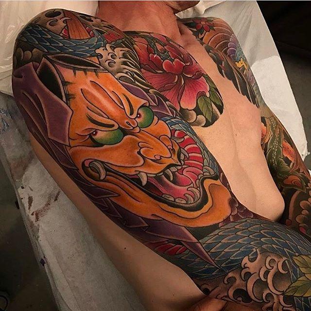 Hannya mask by @alessioricci #hannya #hannyamask #hannyatattoo #hannyamasktattoo #japenesetattoo #tattooworkers #tattooistartmag
