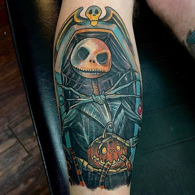 Jack Skellington tattoo by @chriscockadoodledo #nightmarebeforechristmas #nightmarebeforechristmastattoo #jackskellington #jackskellingtontattoo #sandiegotattooshop #northpark #sandiego #sandiegotattoo #sandiegotattooartist