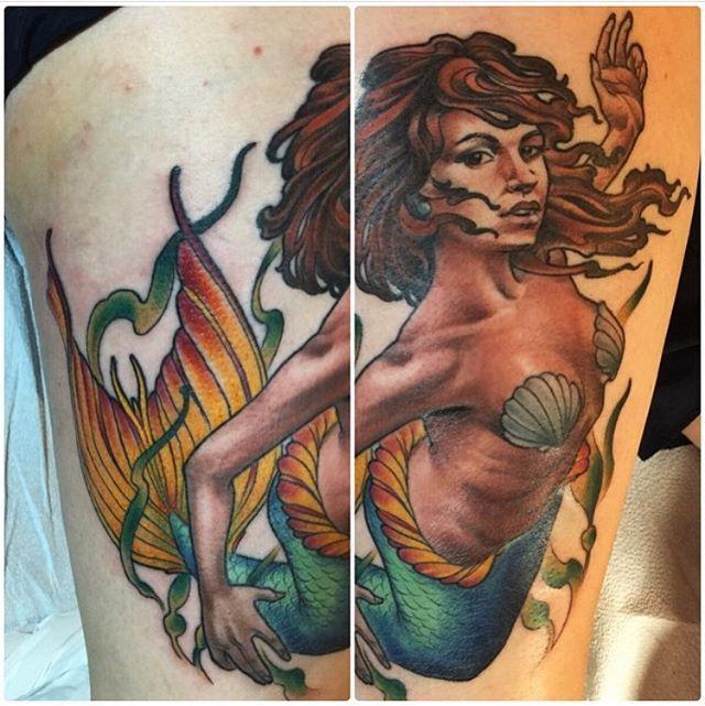 Mermaid by @nathanieltattoosd #mermaid #mermaidtattoo #sandiegotattooartist #sandiegotattoo #sandiegotattooer #sandiegotattooshop