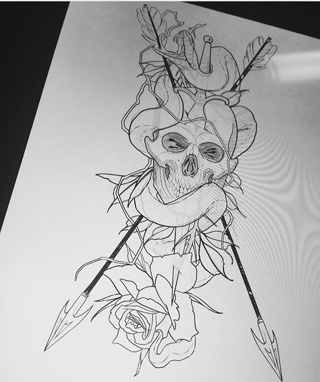Drawing by @gust_razotattoos #skull #snake #arrows #drawing #ipadpro #ipadprotattooteam #sandiegotattooshop #sandiegotattooer #sandiegotattoo #sandiego