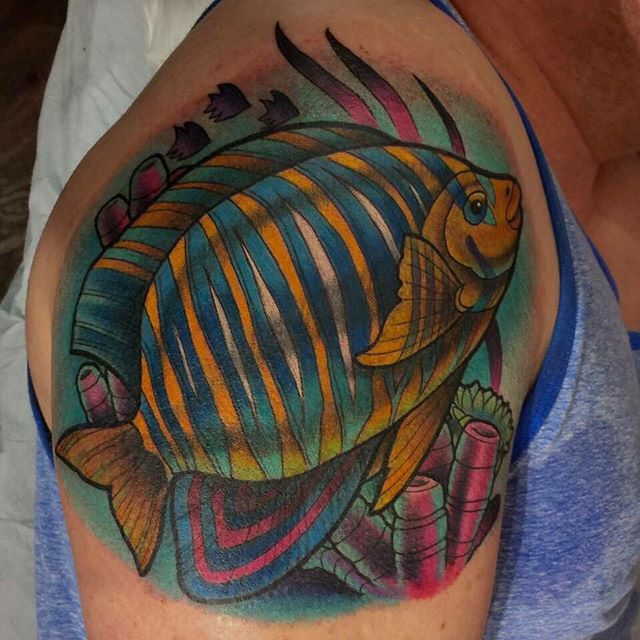Made a cool fish yesterday! #terryribera #remingtontattoo #sandiegotattooartist @terryribera