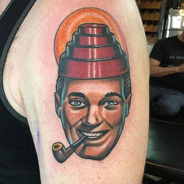"J.R. ""Bob"" Dobbs tattoo by @chriscockadoodledo #jrbobdobbs #bobdobbs #churchofthesubgenius #devo #devotattoo #sandiego #sandiegotattoo #sandiegotattooer #sandiegotattooshop #sandiegotattooartist"