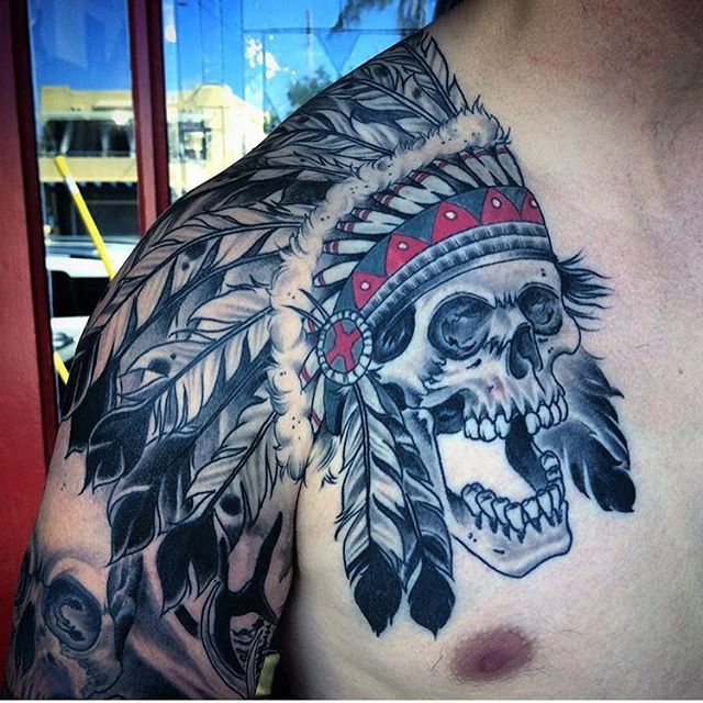 Healed skull tattoo by @johnsabin #skulltattoo #chesttattoo #sandiegotattoo #sandiegotattooer #sandiegotattooshop #sandiegotattooartist #remingtontattoo
