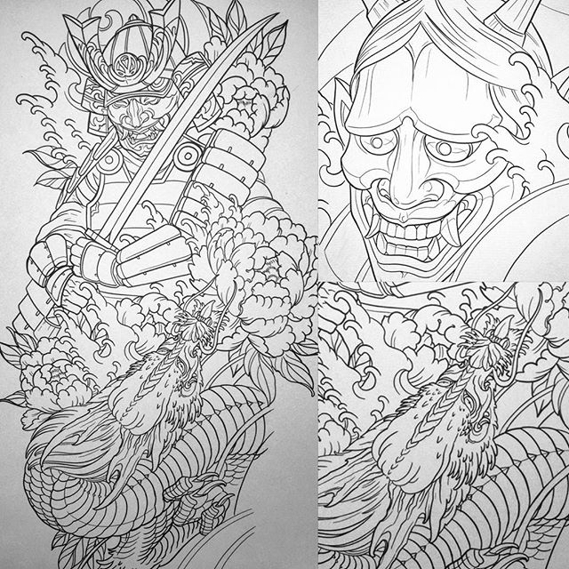 Upcoming #tattoos for this week #terryribera #asiantattoo #japanesetattoo #hannyamasktattoo #samuraitattoo #dragontattoo www.terryribera.com, www.terryribera.com ????terryribera@gmail.com #sandiegotattooartist #customtattooartist #northparktattooartist