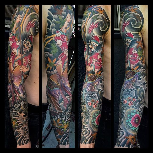 Sleeve by @alessioricci #sleevetattoo #spidertattoo #japanesetattoo #japanesetattooing #sandiegotattoo #sandiego #sandiegotattooer #sandiegotattooshop #sandiegotattooartist #northparktattooartist #remingtontattoo