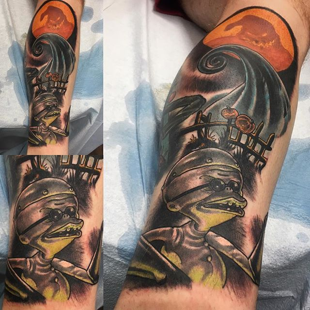 Recent #nightmarebeforechristmas #tattoo from chris. @chriscockadoodledo @remingtontattoo In progress #spooky #sandiegotattoo #horrortattoo#northparksandiego #northparktattoo #sandiegotattooshop #30thstreet