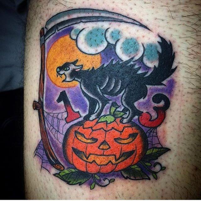 Fun Halloween tattoo by @johnsabin #halloweentattoo #blackcattattoo #pumpkintattoo #jackolanterntattoo #fridaythe13thtattoo #scythetattoo #fullmoontattoo #darkart #darkartists