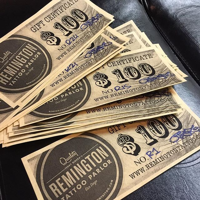 Remington Tattoo Gift certificates are back in stock. Sold in $100 increments. Available for purchase in the shop Wednesdays-Saturday's only, please call ahead for availability. 16197958915 #holiday #greatgiftidea
