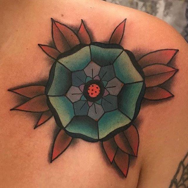 #mandala #tattoo done by @jasmineworthtattoos #northpark #northparktattooartist #sandiegotattooartist #flower #flowertattoo #remingtontattoo