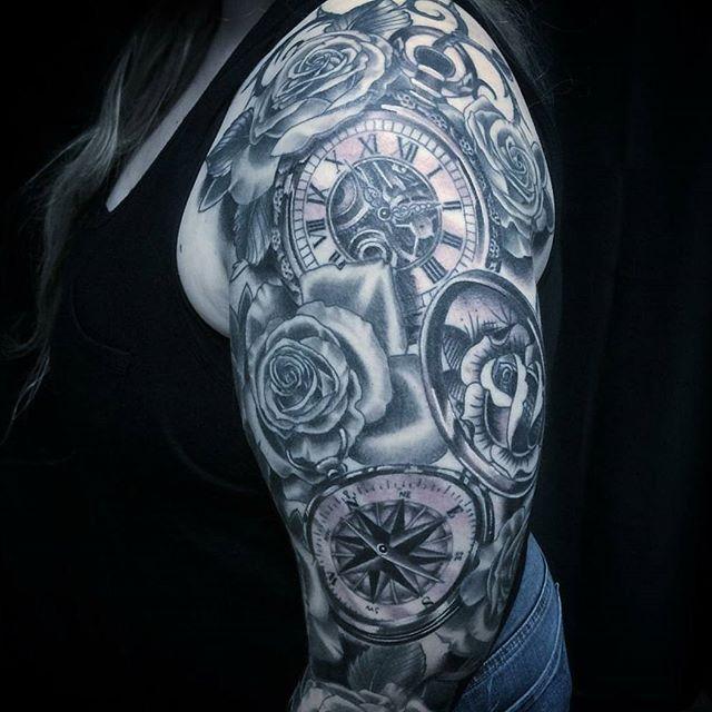 Tattoo by @johnsabin #tattoo #tattoos #remingtontattoo #northparktattoo #rosetattoo #clocktattoo #compasstattoo #sandiegotattooartist #sandiego
