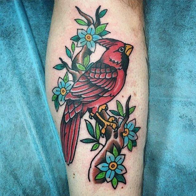 Cardinal tattoo by @chriscockadoodledo #tattoo #tattoos #remingtontattoo #northparktattoo #northpark #cardinaltattoo #sandiegotattooartist #sandiegotatto #sandiego