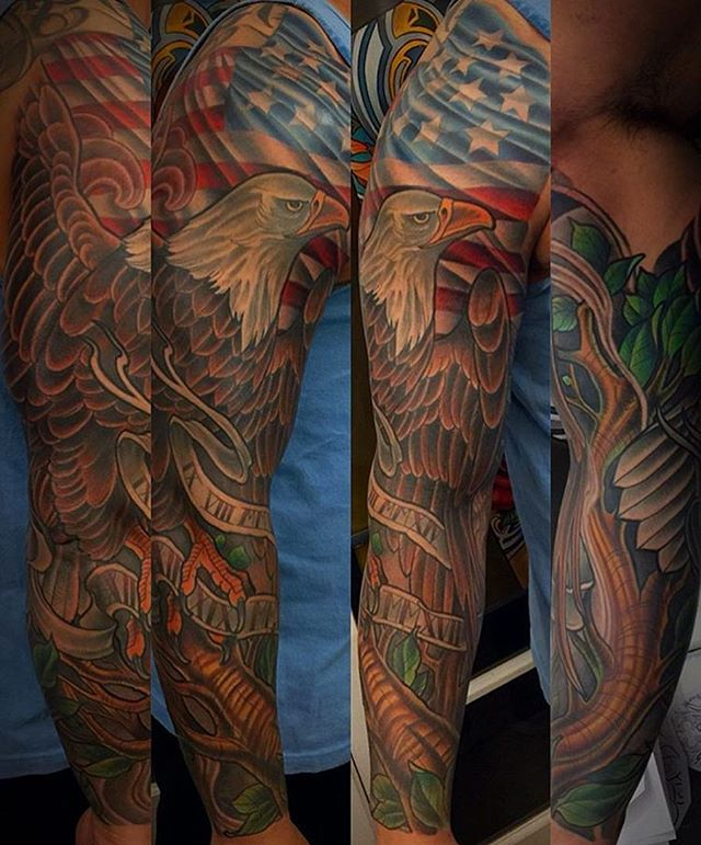 This #eagle and #Americanflag #tattoo #sleeve done by @terryribera at #remingtontattoo #eagletattoo #consitution #american #flag #bird #birdtattoo #sleevetattoo #sandiegotattooartist #northparktattooartist #sandiego #northparksandiego #northpark #sd #30th