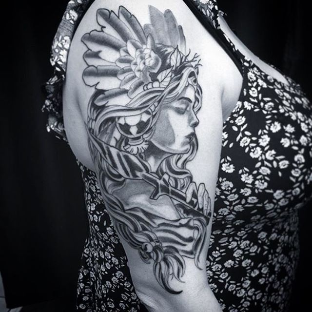 This #spear #lady #tattoo done by @gust_razotattoos at #remingtontattoo #speartattoo #ladytattoo #blackandgreytattoo #blackandgrey #wip #sandiegotattooartist #northparktattooartist #sandiego #northpark #northparksandiego #sd #30th #shoulder #shouldertattoo