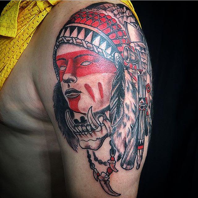 This one shot #native #warrior #tattoo done by @johnsabin at #remingtontattoo #nativewarrior #warriortattoo #blackandred #sandiegotattooartist #northparktattooartist #sandiego #northparksandiego #northpark #sd #30th